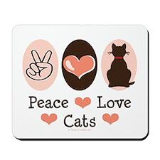 Peace Love Cats Kitty Cat Mousepad
