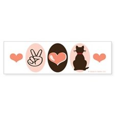 Peace Love Cats Kitty Cat Bumper Bumper Sticker