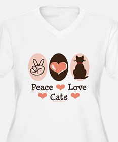 Peace Love Cats Kitty Cat T-Shirt