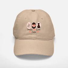 Peace Love Cats Kitty Cat Baseball Baseball Cap
