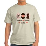 Peace Love Cats Kitty Cat Light T-Shirt