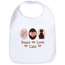 Peace Love Cats Kitty Cat Bib