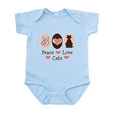 Peace Love Cats Kitty Cat Infant Bodysuit
