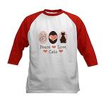 Peace Love Cats Kitty Cat Kids Baseball Jersey