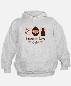 Peace Love Cats Kitty Cat Hoodie