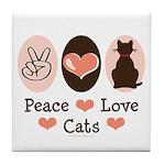 Peace Love Cats Kitty Cat Tile Coaster