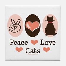 Peace Love Cats Kitty Cat Tile Coaster