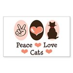 Peace Love Cats Kitty Cat Rectangle Sticker