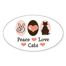 Peace Love Cats Kitty Cat Oval Decal