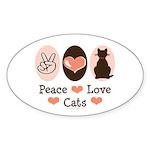 Peace Love Cats Kitty Cat Oval Sticker