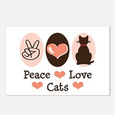 Peace Love Cats Kitty Cat Postcards (Package of 8)