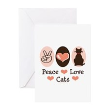 Peace Love Cats Kitty Cat Greeting Card
