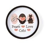 Peace Love Cats Kitty Cat Wall Clock