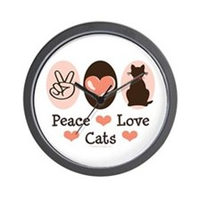 Peace Love Cats Kitty Cat Wall Clock