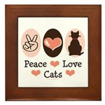 Peace Love Cats Kitty Cat Framed Tile