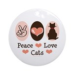 Peace Love Cats Kitty Cat Ornament (Round)