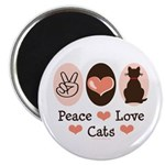 Peace Love Cats Kitty Cat Magnet