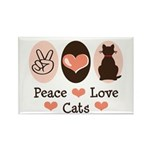 Peace Love Cats Kitty Cat Rectangle Magnet (10 pac