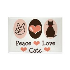 Peace Love Cats Kitty Cat Rectangle Magnet