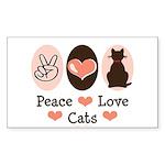 Peace Love Cats Kitty Cat Rectangle Sticker 10 pk