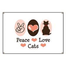 Peace Love Cats Kitty Cat Banner