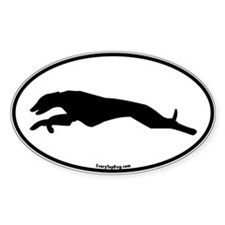 Greyhound Running Oval Oval Decal