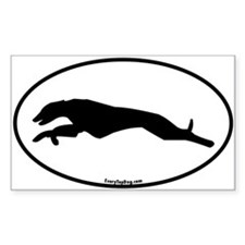Greyhound Running Oval Rectangle Decal