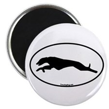 Greyhound Running Oval Magnet