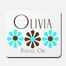 Olivia - Blue/Brown Flowers Mousepad