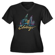Chicago Stylized Skyline Women's Plus Size V-Neck