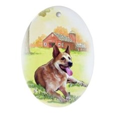 red heeler portrait Oval Ornament