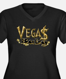 Vegas Baby Women's Plus Size V-Neck Dark T-Shirt