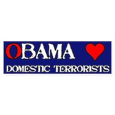 Obama Loves Domestic Terrorists Bumper Car Sticker
