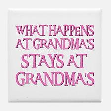 STAYS AT GRANDMA'S (pnk) Tile Coaster