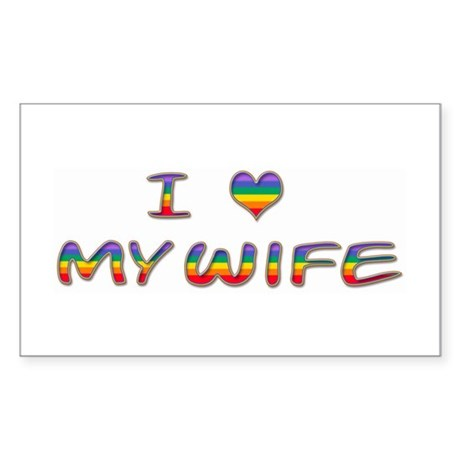I Heart My Wife Rectangle Sticker