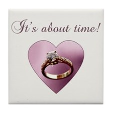 About Time Engagement Tile Coaster