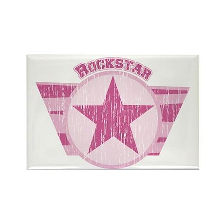 Rockstar Vintage Pink Rectangle Magnet (10 pack)