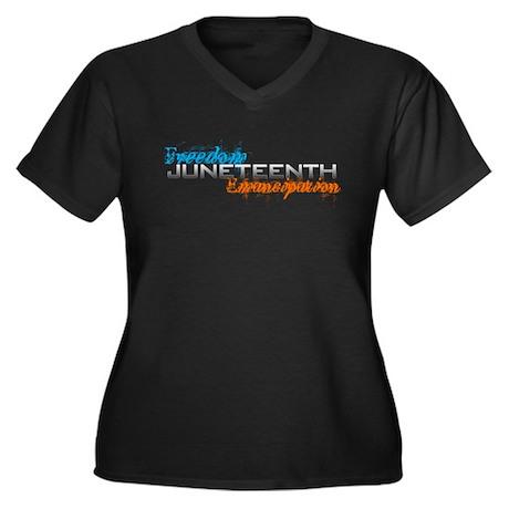 Juneteenth Women's Plus Size V-Neck Dark T-Shirt