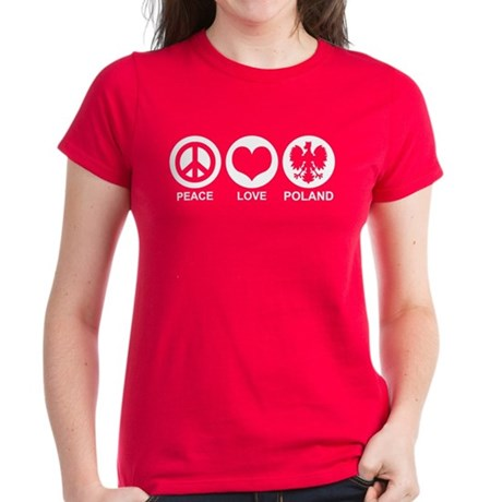 Peace Love Poland Women's Dark T-Shirt