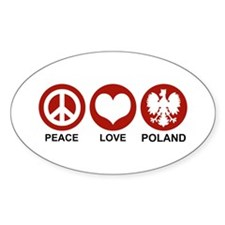 Peace Love Poland Oval Decal