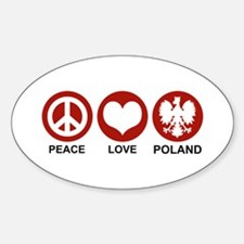Peace Love Poland Oval Stickers