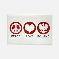 Peace Love Poland Rectangle Magnet