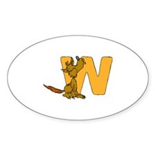 W is for Wolf Oval Decal