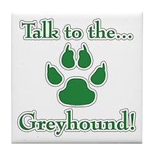 Grey Talk Green Tile Coaster