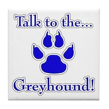 Grey Talk Blue Tile Coaster