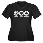 Peace love Canada Women's Plus Size V-Neck Dark T-