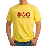 Peace love Canada Yellow T-Shirt