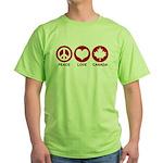 Peace love Canada Green T-Shirt