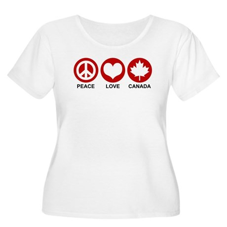Peace love Canada Women's Plus Size Scoop Neck T-S