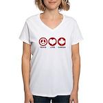 Peace love Canada Women's V-Neck T-Shirt
